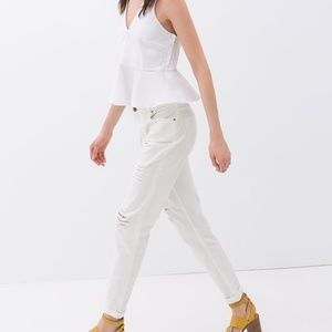 ZARA Ripped Jean:White, US 8/Eur 40